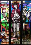 1st Stations of the Cross, Jesus is condemned to death. Stained glass window in Saint Lawrence church in Kleinostheim, Germany Stock Photo