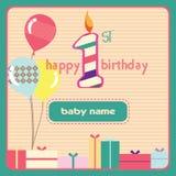 1st stearinljus för födelsedaghälsningkort Arkivfoton