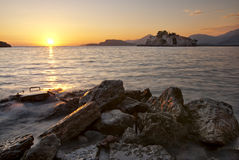 St. Stefan island. Montenegro, St. Stefan island at sunset Stock Images