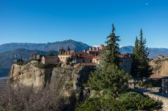 St Stefan Monastery in Meteora rocks, meaning `suspended into air` in Trikala. Greece Stock Photos