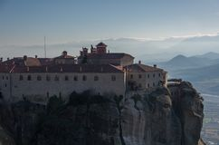 St Stefan Monastery in Meteora rocks, meaning `suspended into air` in Trikala. Greece Royalty Free Stock Image
