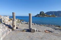 St. Stefanos basilica at Kos, Greece. Saint Stefanos ancient basilica and beach at Kos island in Greece Royalty Free Stock Photography