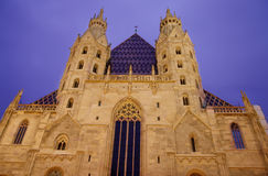 St. Stephan cathedral in Vienna. At night, Austria Stock Photo