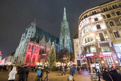 St. Stephan cathedral in Vienna, Austria. Crowded St. Stephan`s square during Christmas holidays Royalty Free Stock Photos