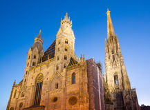 St. Stephan cathedral in Vienna. St. Stephan cathedral at night in Vienna, Austria Stock Images