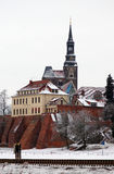 St. Stephan with hotel in winter. Elbe river flowing in front w Stock Images