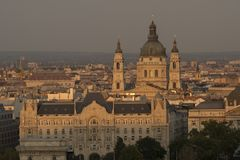 St Stephen Basilica in Budapest Hungary. Elevated sunset shot of St Stephen Basilica in Budapest Hungary stock photography