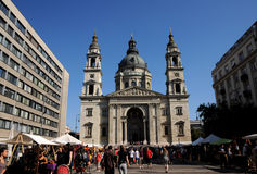 St. Stephen Basilica - market square Stock Photo