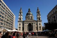 St. Stephen Basilica - market square. Szt. Istvan Church - Budapest, Hungary stock photo