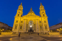 St Stephen Basilika und belichtetes Quadrat Lizenzfreies Stockbild