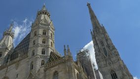 St. Stephen Cathedral in Vienna. Dutch angle shot of the Saint Stephen Cathedral in Vienna, Austria stock footage