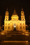 St. Stephen Church in Budapest at night Royalty Free Stock Images