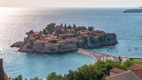St Stephen est un petits ?lot et lieu de vill?giature luxueux sur la Mer Adriatique, Mont?n?gro photo stock