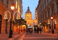 St Stephen's Basilica. With Christmas lights Royalty Free Stock Photo