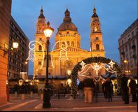 St Stephen's Basilica. With Christmas lights Royalty Free Stock Photography