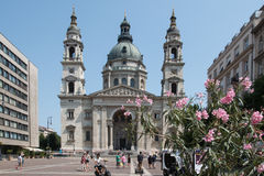St. Stephen`s Basilica in Budapest, Hungary. BUDAPEST, HUNGARY – AUGUST 5 2017: People in front of St. Stephen`s Basilica in Budapest, Hungary Royalty Free Stock Photos
