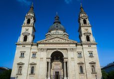 St. Stephen`s Basilica largest church in Budapest, Hungary. Is one of the most beautiful and significant churches and touristic a. St. Stephen`s Basilica largest Stock Photo