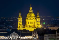 St. Stephen`s Basilica at night, Budapest, Hungary stock photos