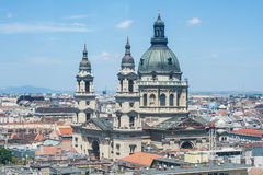 St. Stephen's Basilica and roofs of Budapest Royalty Free Stock Images