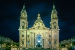 St. Stephen`s Basilica and square in Budapest. Hungary stock image