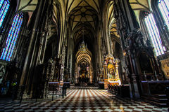 St. Stephen's Cathedral chamber. Church hall of St. Stephen's Cathedral in vienna Royalty Free Stock Photography