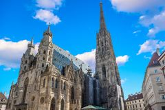 St. Stephen`s Cathedral in Vienna, Austria in a beautiful autumn day stock images