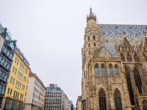 St. Stephen`s Cathedral in Vienna, Austria in a beautiful white background sky. royalty free stock photography