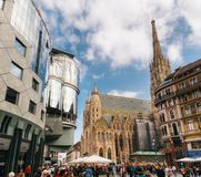 St Stephen`s church and surrounding modern buildings in Vienna stock images