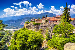 St. Stephen`s Monastery and beautiful landscapes of Meteora and Royalty Free Stock Photos