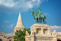 St Stephen`s statue at Fisherman`s bastion in Budapest Hungary. St Stephen`s statue at Fisherman`s bastion in Budapest, Hungary stock photo
