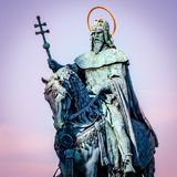 St Stephen Statue Budapest Hungary. Very much one of the main tourist attractions and points of interest in the area royalty free stock photo