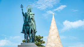 St Stephen Statue Budapest Hungary. Very much one of the main tourist attractions and points of interest in the area royalty free stock image