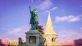 St Stephen Statue Budapest Hungary. Very much one of the main tourist attractions and points of interest in the area stock image