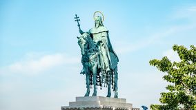 St Stephen Statue Budapest Hungary. Very much one of the main tourist attractions and points of interest in the area stock photo