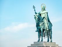 St Stephen Statue Budapest Hungary. Very much one of the main tourist attractions and points of interest in the area royalty free stock photography