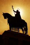 St. stephen statue - silhouette. Statue of hungarian king st. stephen in budapest stock image