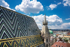 St. Stephens Cathedral Vienna With Cityscape Stock Photos
