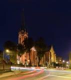 St. Stephens Church, in the night. Katowice Stock Image