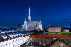 St Stephens katedra Przy nocą Fotografia Stock