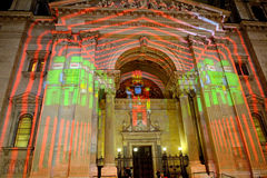 St. Steven Cathedral in Xmas illumination, Budapest, Hungary Royalty Free Stock Images