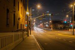 1st Street Bridge at night, Los Angeles. 1st Street Bridge at night in Los Angeles. We can also see the city hall building Royalty Free Stock Image