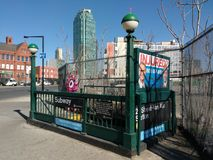 Subway Station Entrance, Exit, Long Island City, LIC, Queens, NY, USA royalty free stock photo