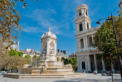 St. Sulpice Church and fountain, Paris Stock Image