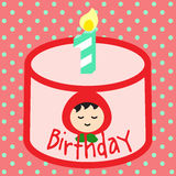 1st Sweet pink birthday. Sweet pink birthday cake decorated with cream and girl with red hood sugar top with number 1 candle stock illustration