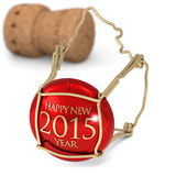 St. Sylvester's night. Champagne red cork  on white background Royalty Free Stock Photos