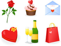 St. Tarjeta del día de San Valentín \ 'iconos del día de s fijados Fotos de archivo libres de regalías