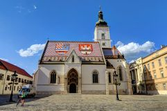 St Teken` s Kerk in oud Zagreb, Kroatië Stock Foto