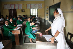 St. Teresa Girls Hihg School, Basanti, West-Bengalen Royalty-vrije Stock Fotografie