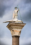 St Theodore column on San Marco square in Venice Stock Photos