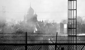 St Theodosius Orthodox Church, Cleveland, Ohio. St Theodosius Orthodox Church Viewed through the barbed wire of the local steel mills. The church is in the Stock Photography